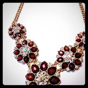 Brilliant Dark red Icing Rhinestones Bib Necklace